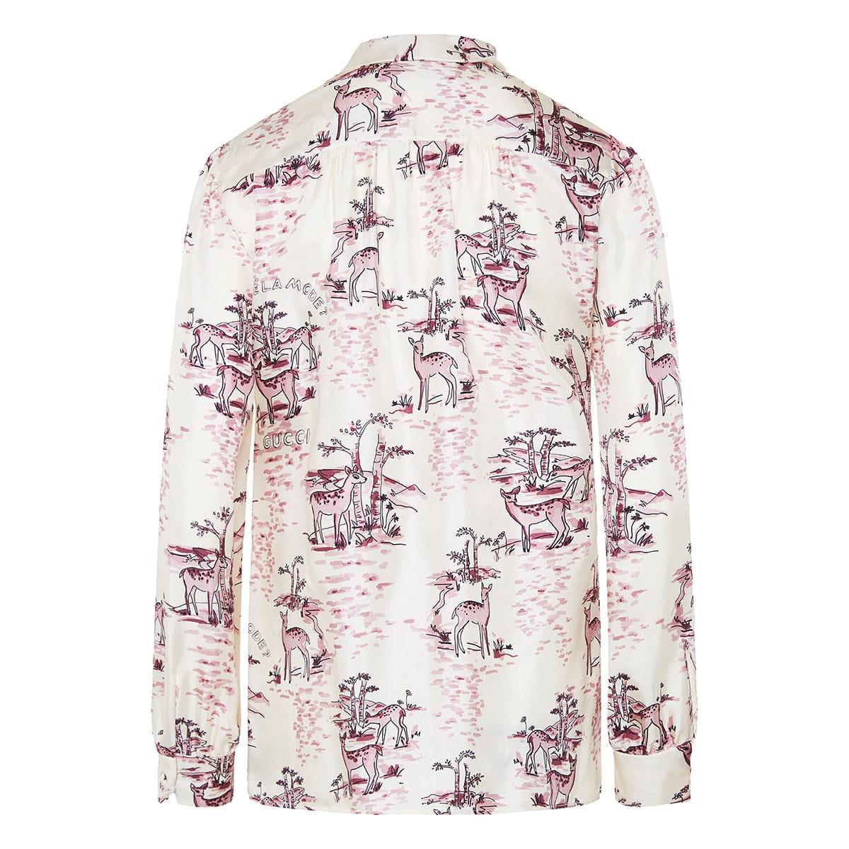 Bow-tie printed silk shirt