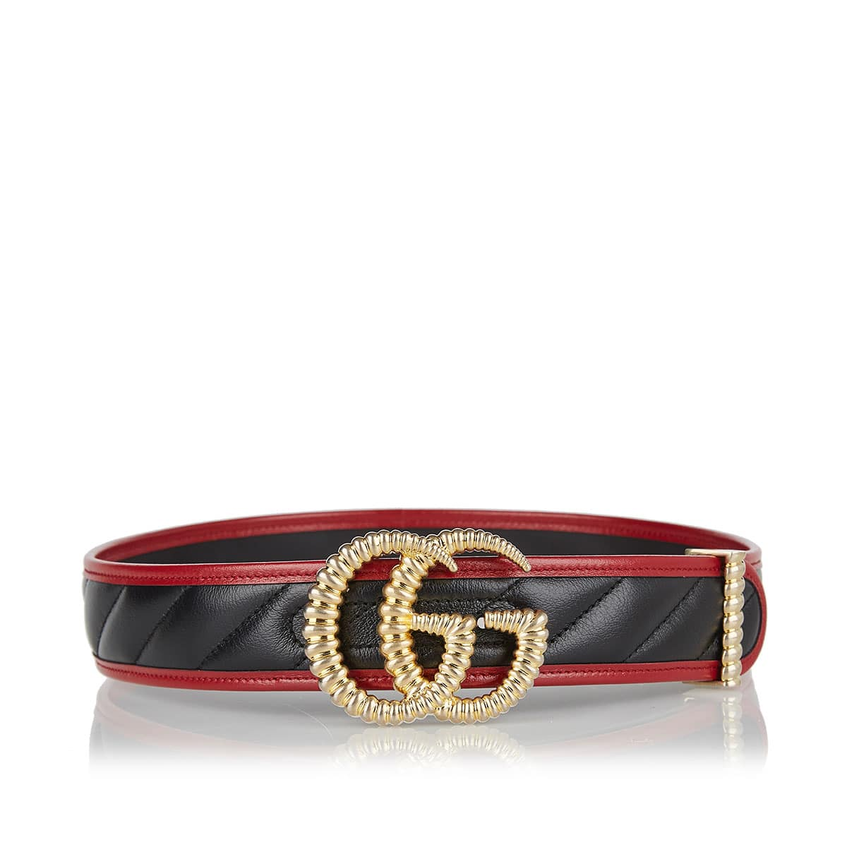 GG quilted leather belt
