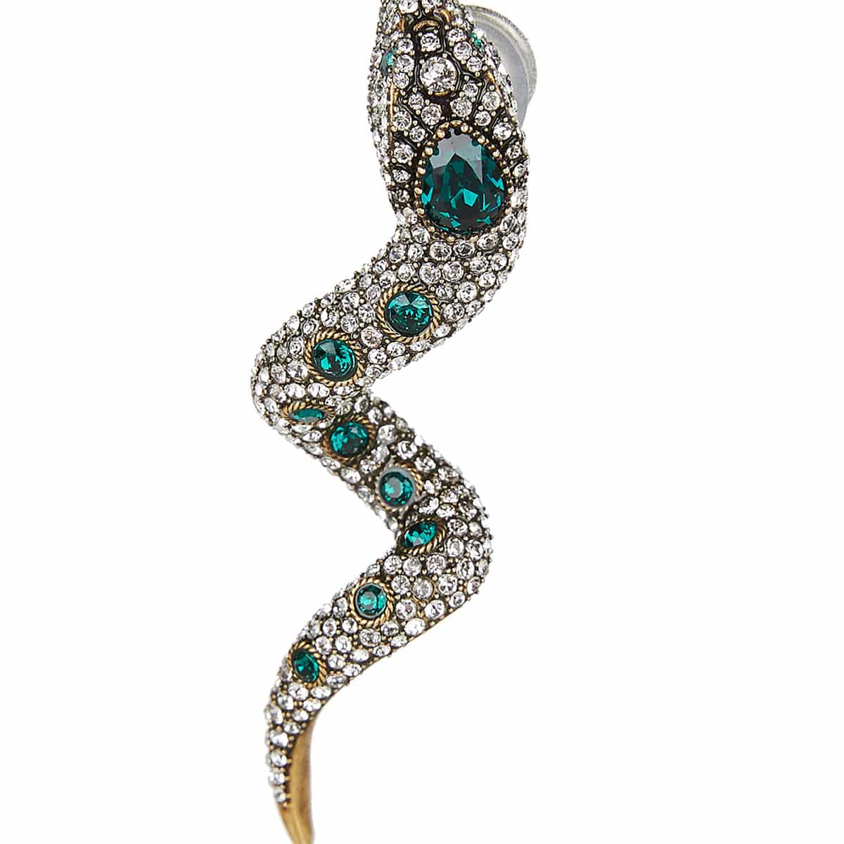 Crystal-embellished snake earrings