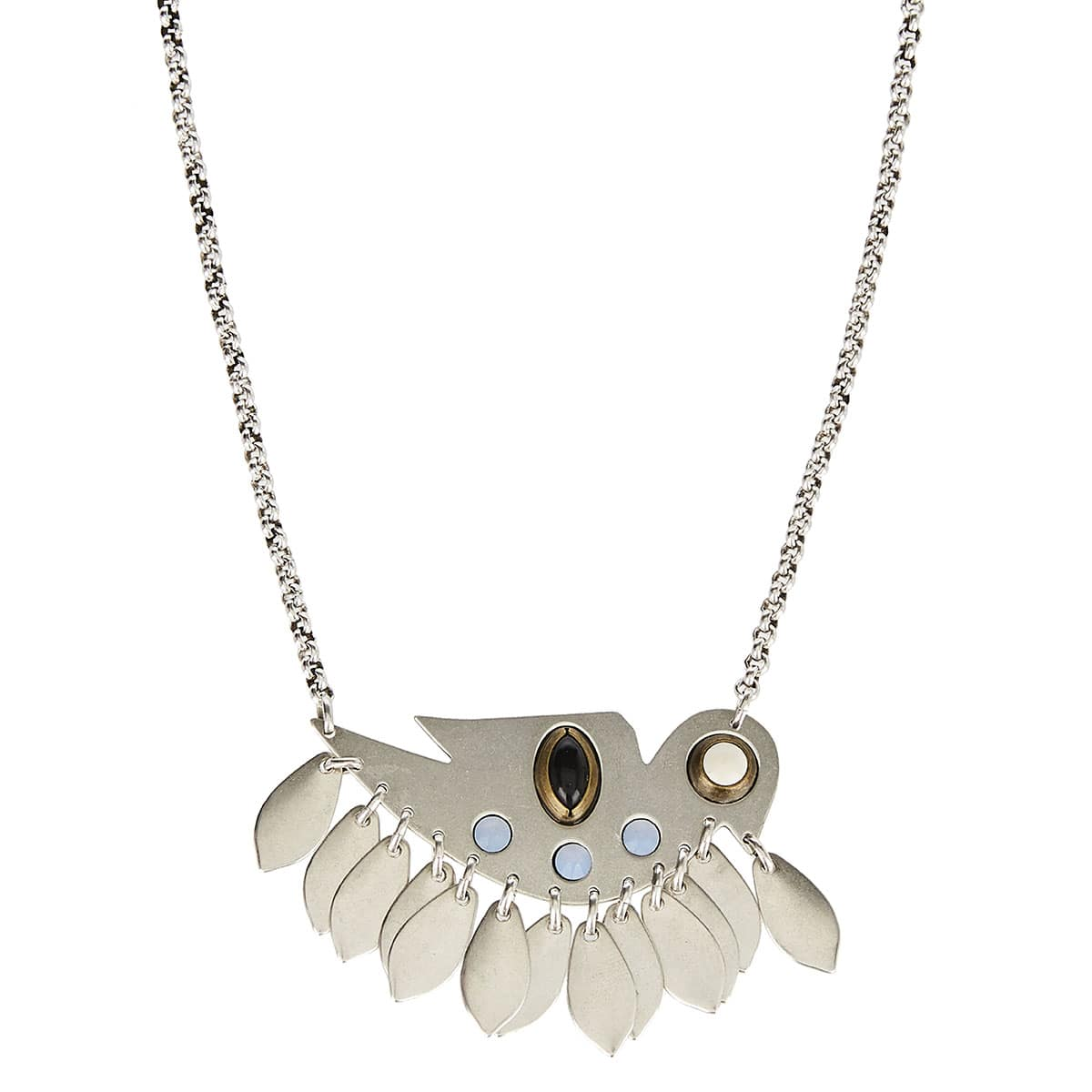 Birdy studded brass necklace
