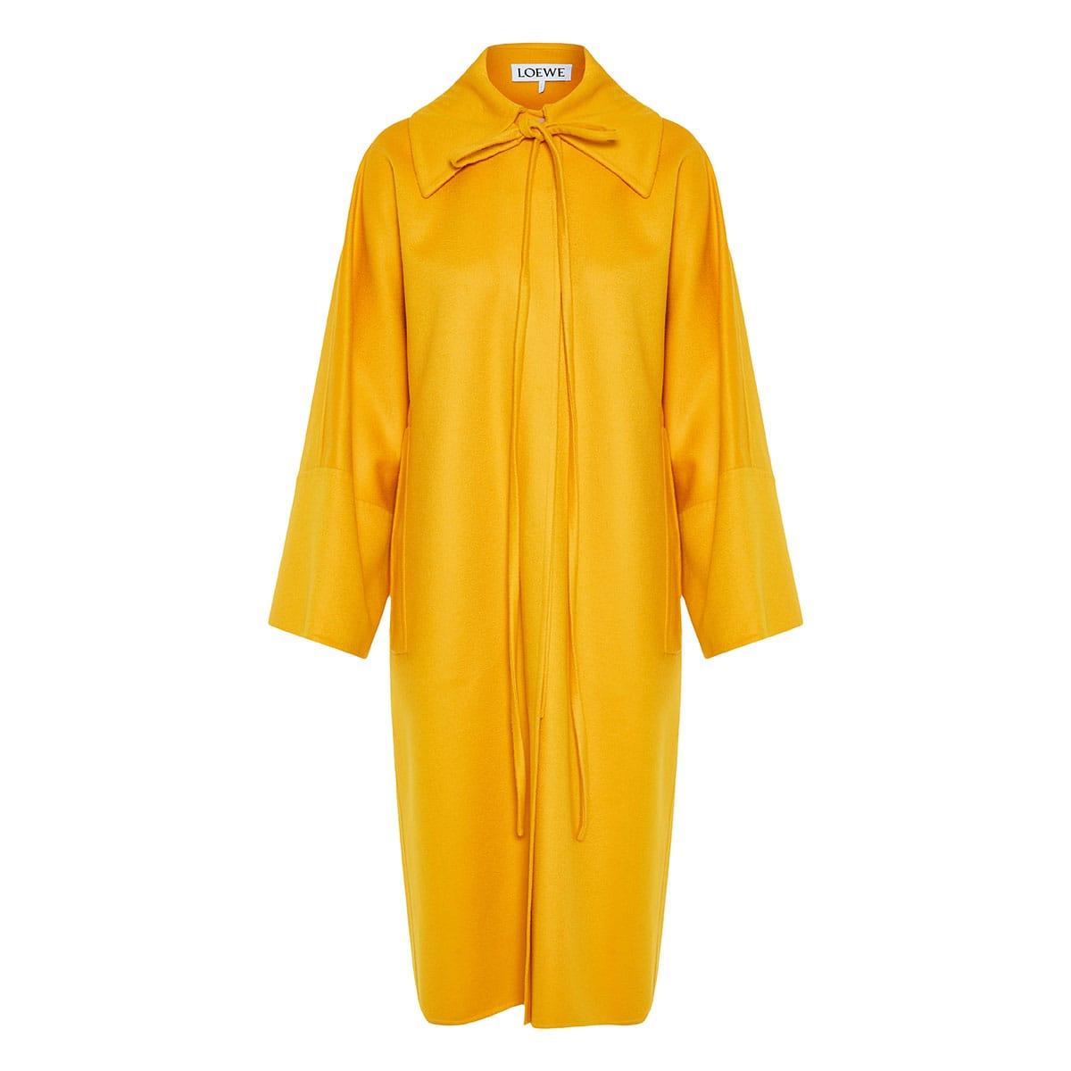 Neck-tie oversized wool coat