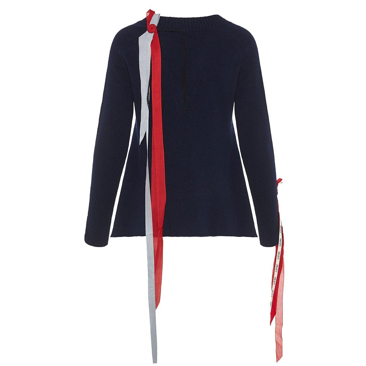 Ribbon-embellished wool sweater