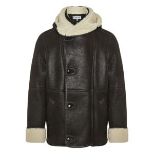 Shearling and leather hooded jacket