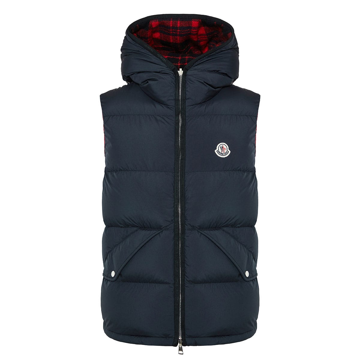 Reversible wool and nylon padded gilet