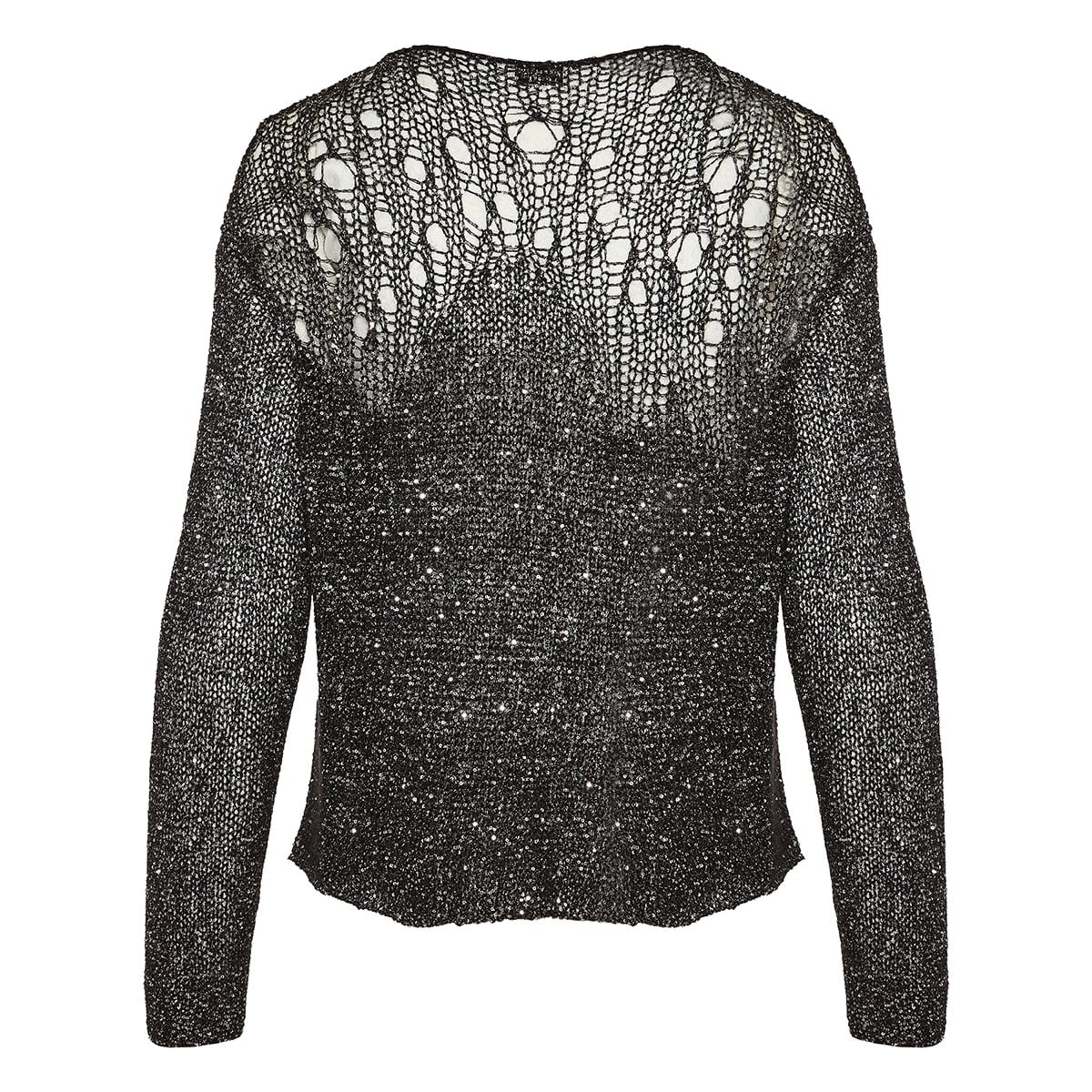 Open-knit sequin sweater