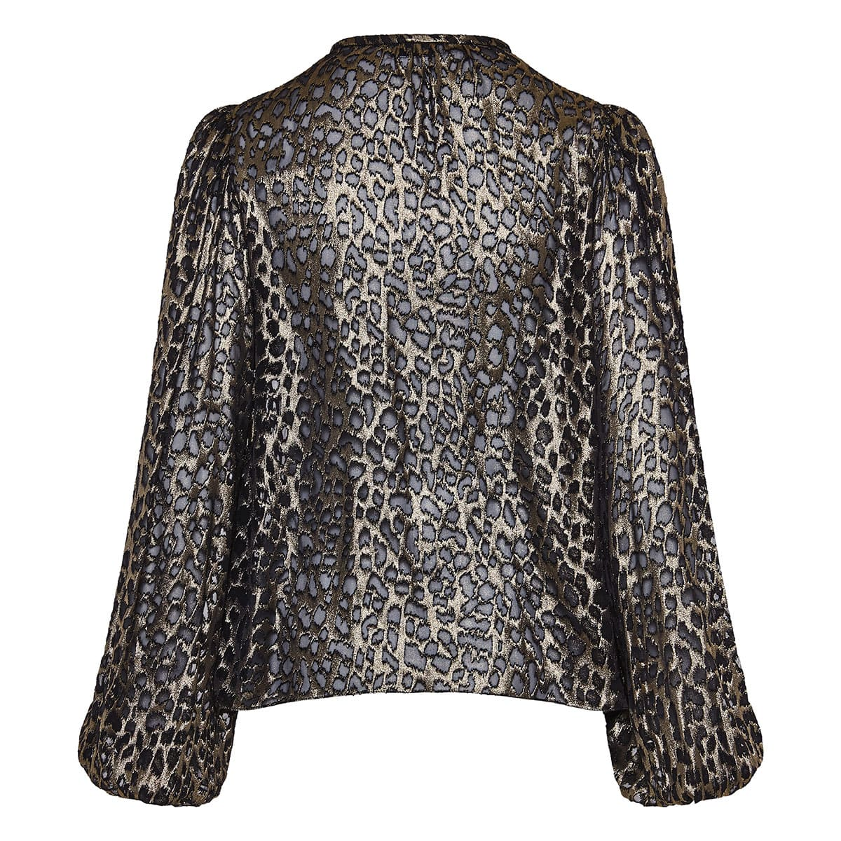 Metallic leopard semi-sheer blouse
