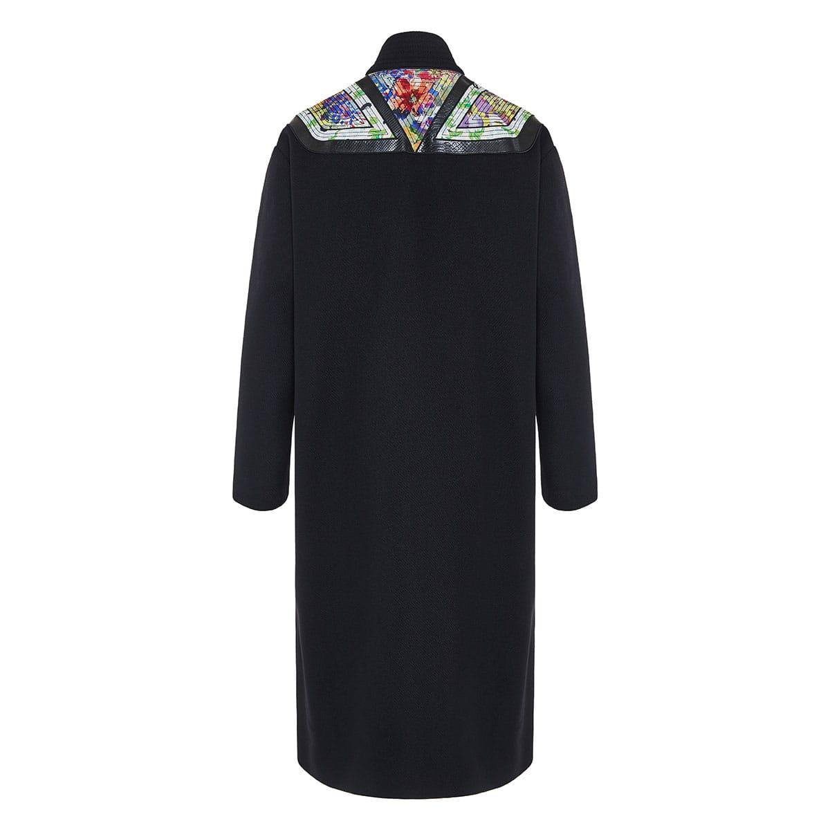 Kimono coat with patchwork panel