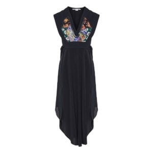 Midi dress with patchwork panel