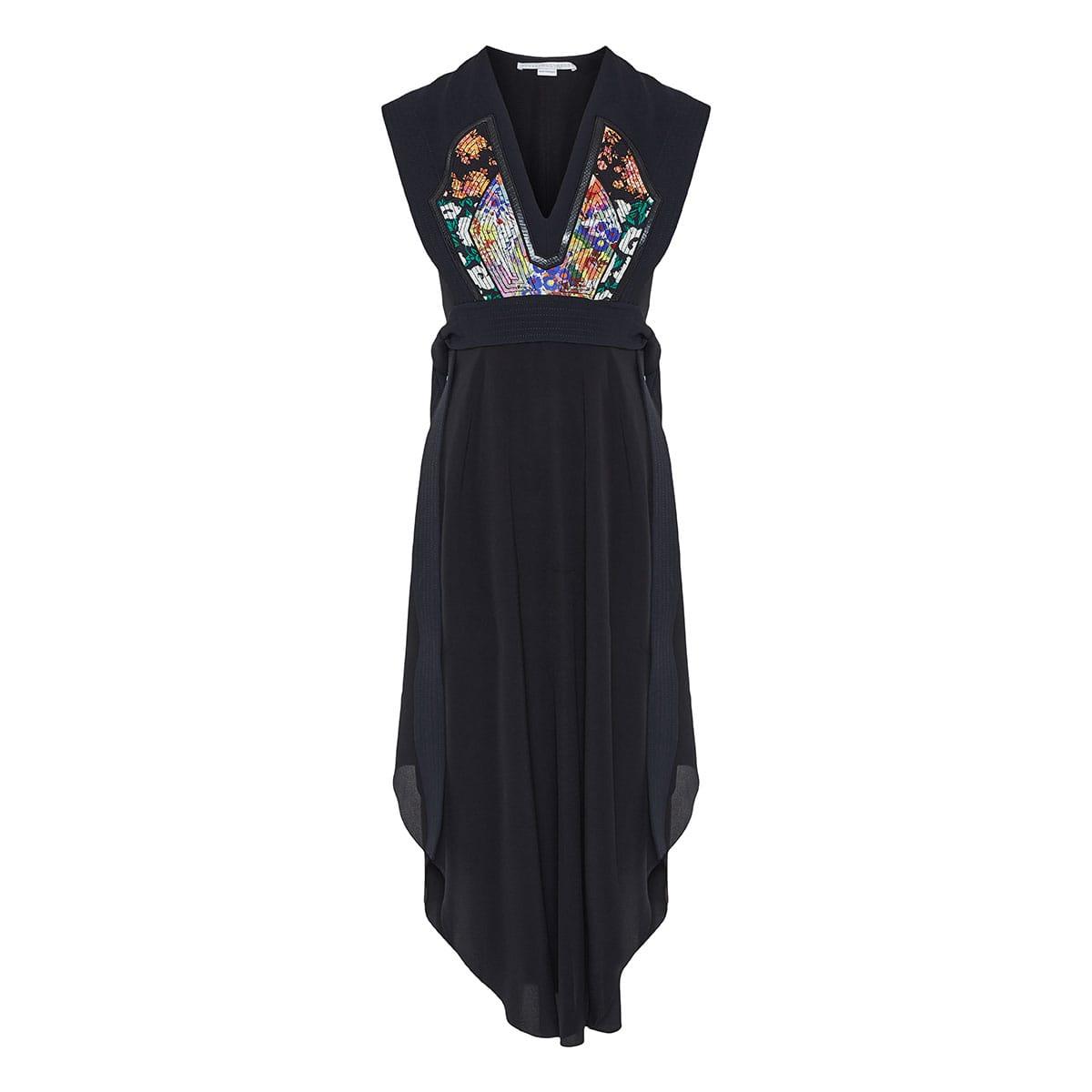 Midi dress with patchwork panel