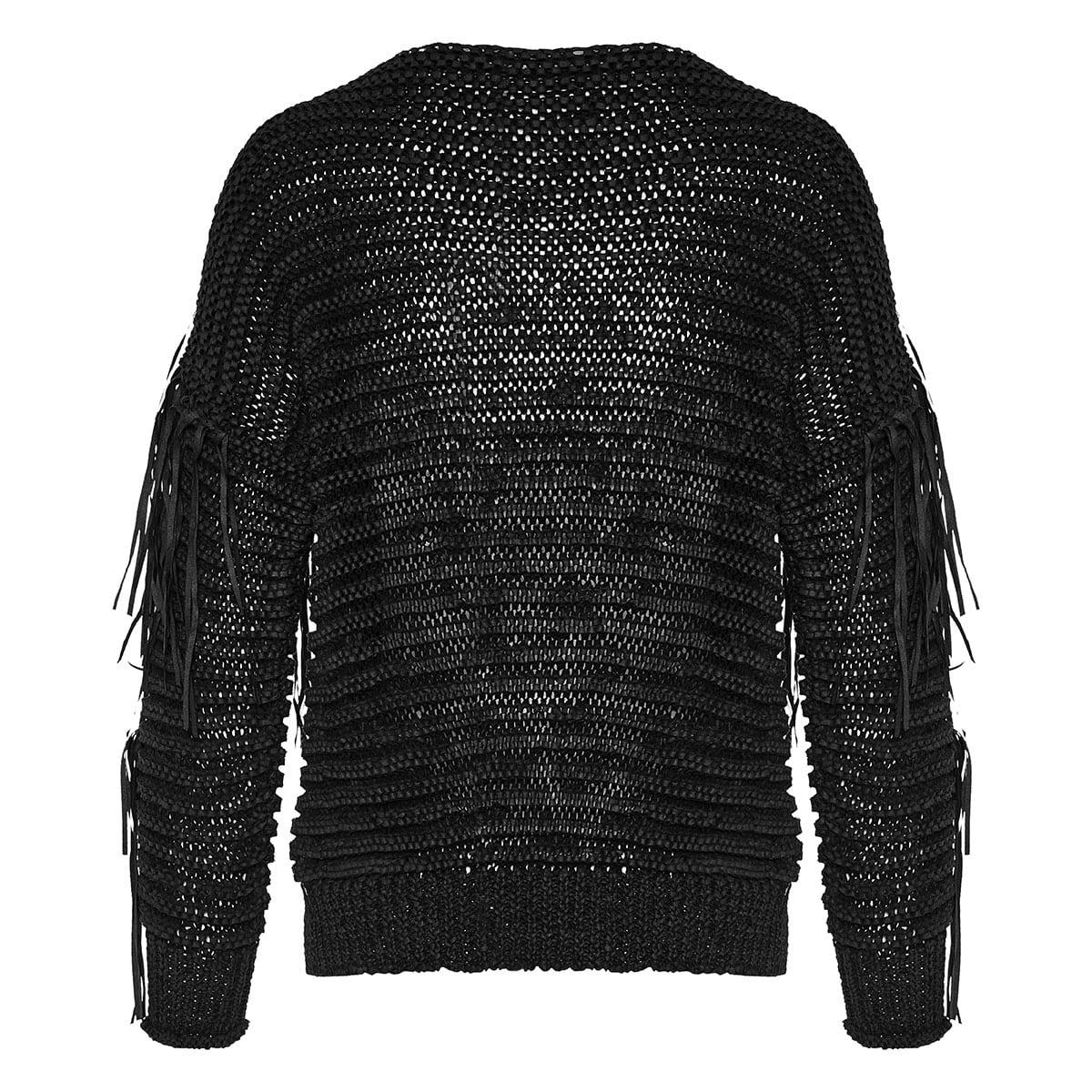 Crochet-paneled fringed sweater