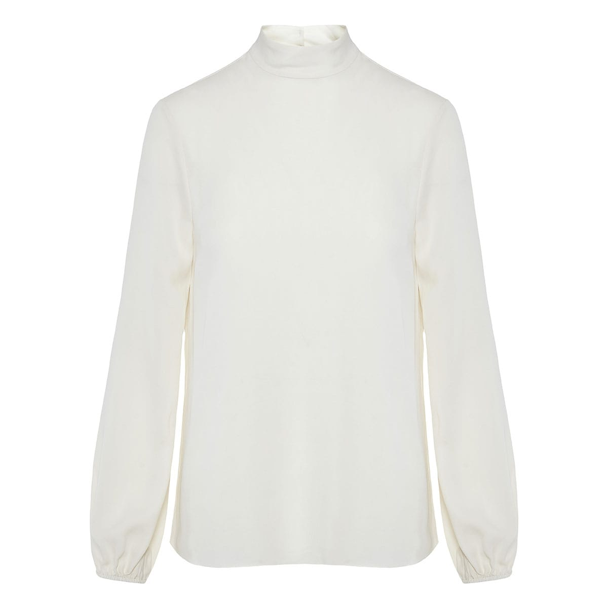 High-neck crepe silk blouse
