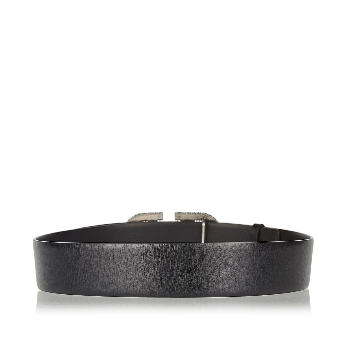 V-logo embellished leather belt