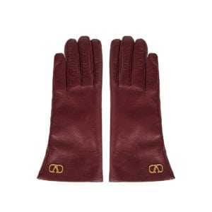 V-logo leather gloves