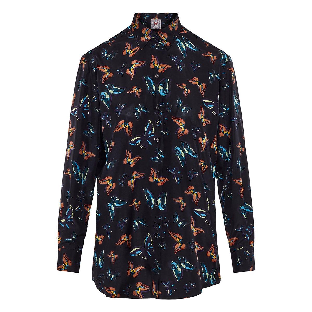 Butterfly printed silk shirt