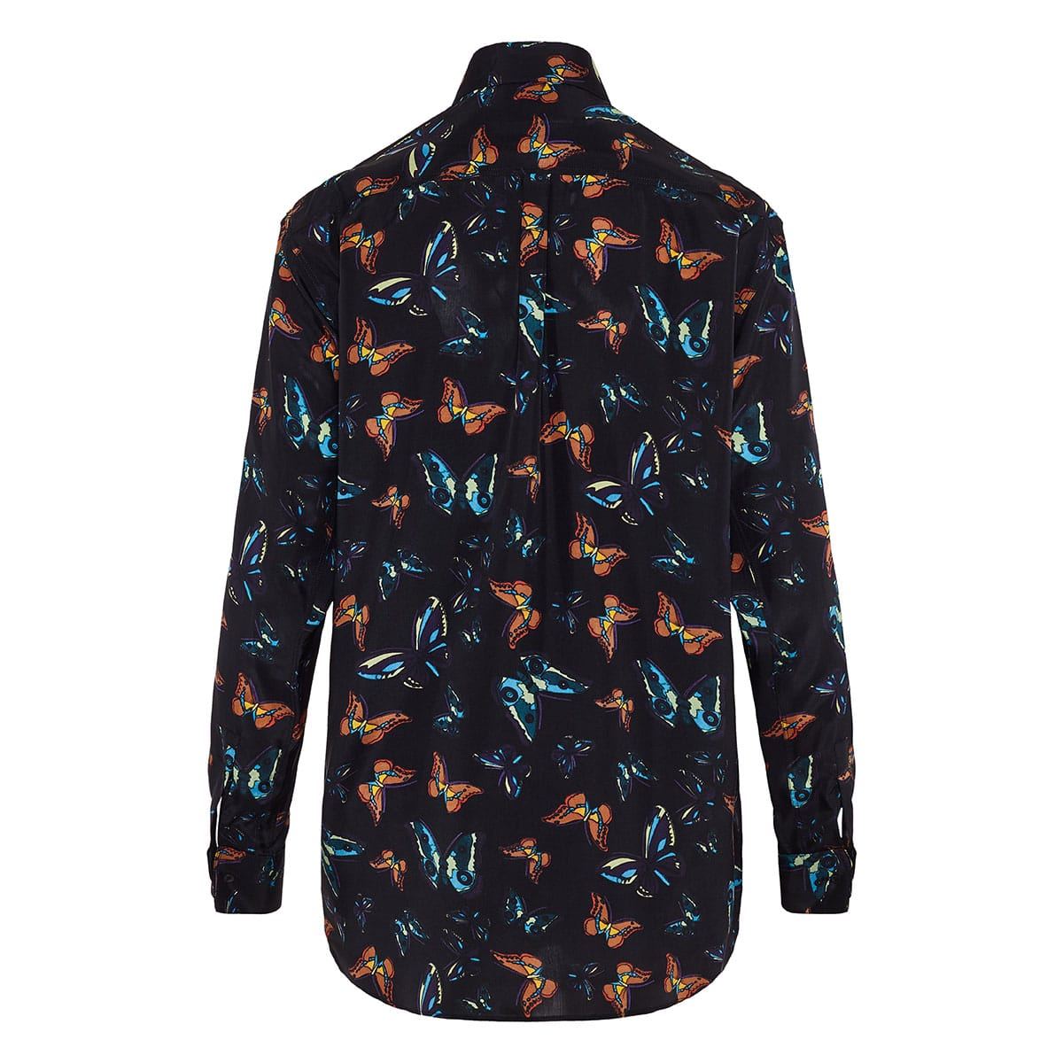 Butterfly printed silk shirt