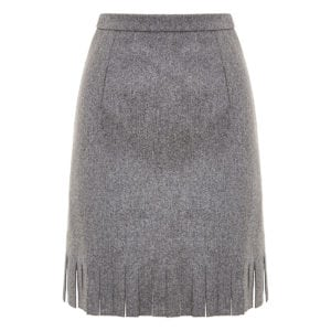 Fringed wool mini skirt