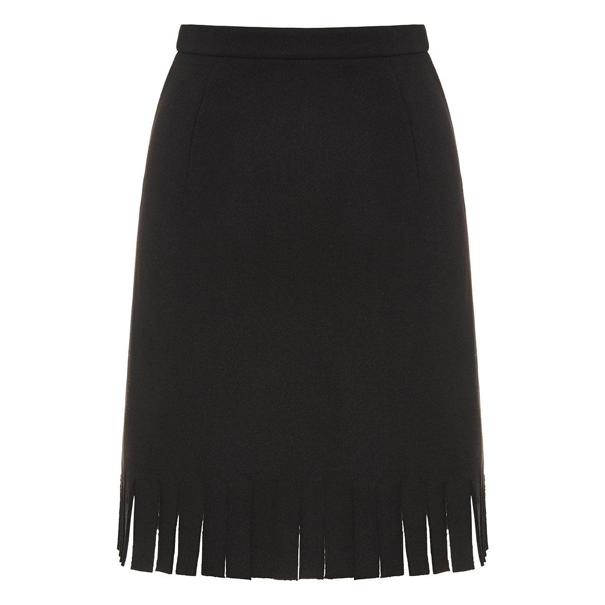 Fringed wool mini skirt