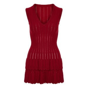Knitted tiered mini dress