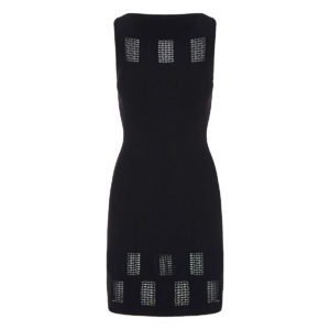 Knitted dress with macramé cutouts