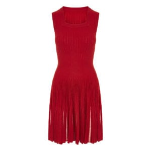 Wool-knit pleated mini dress