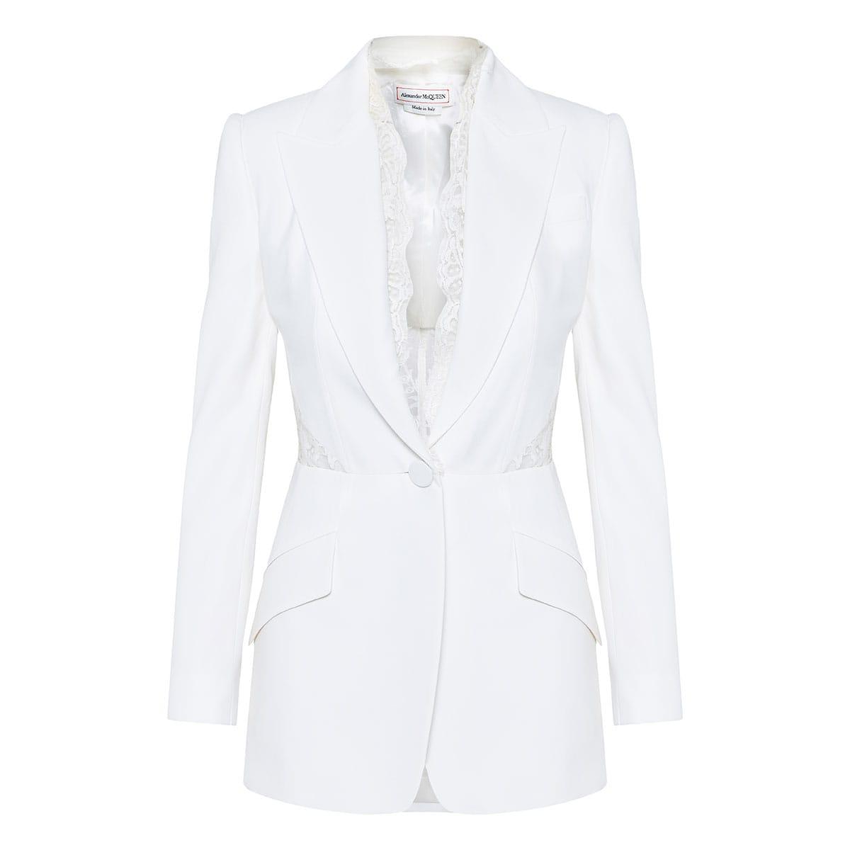 Lace-paneled blazer
