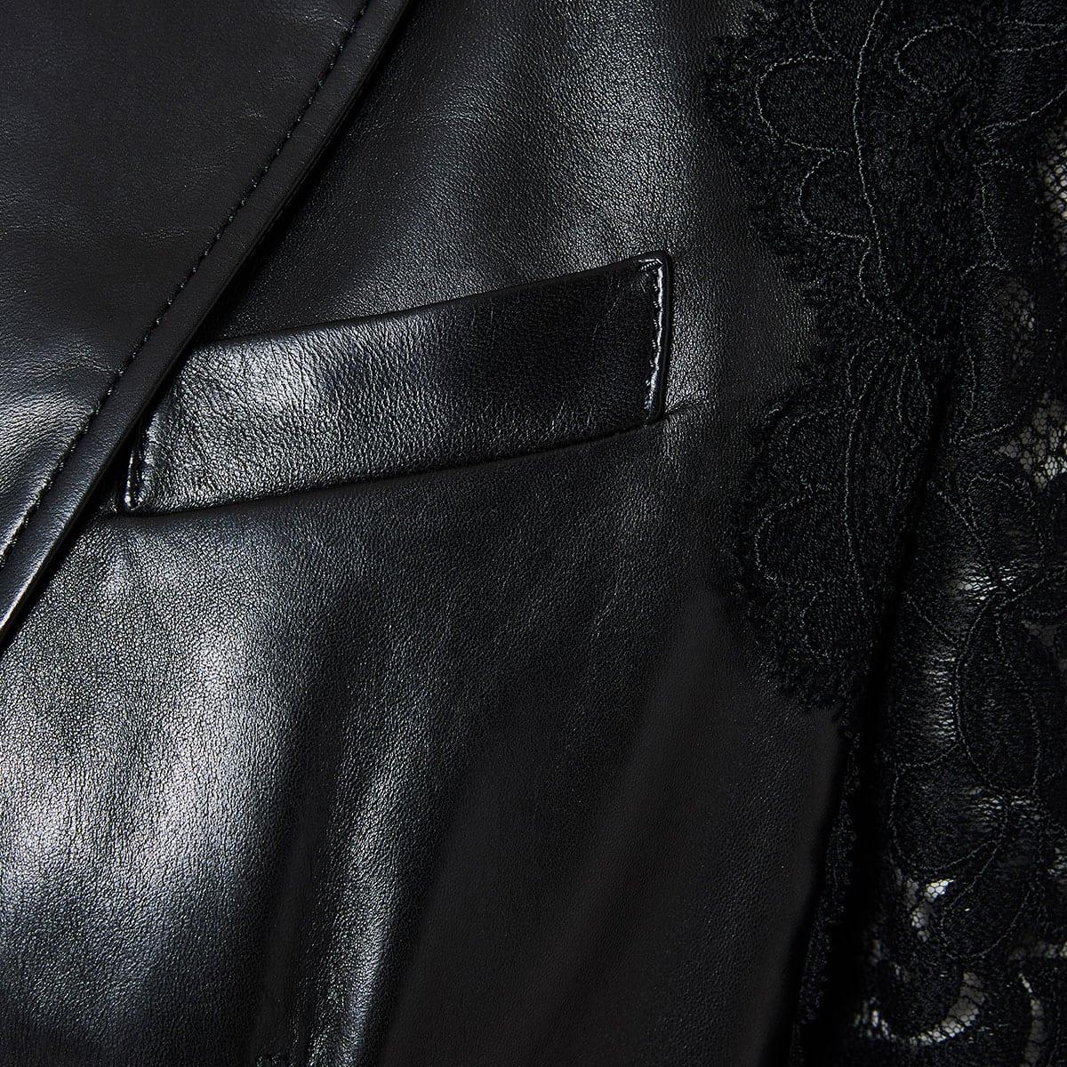 Lace-paneled leather blazer