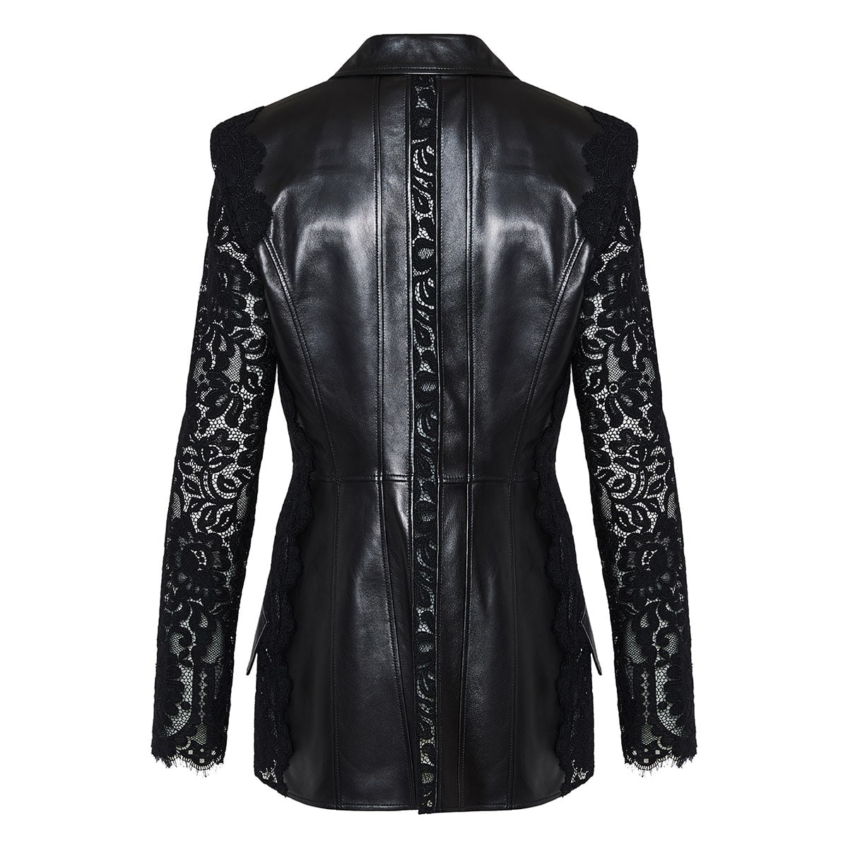 Lace-paneled leather blazer