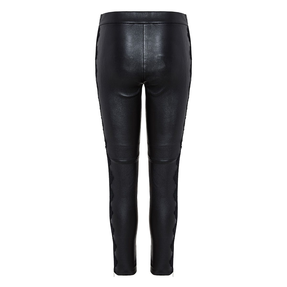 Lace-paneled leather leggings