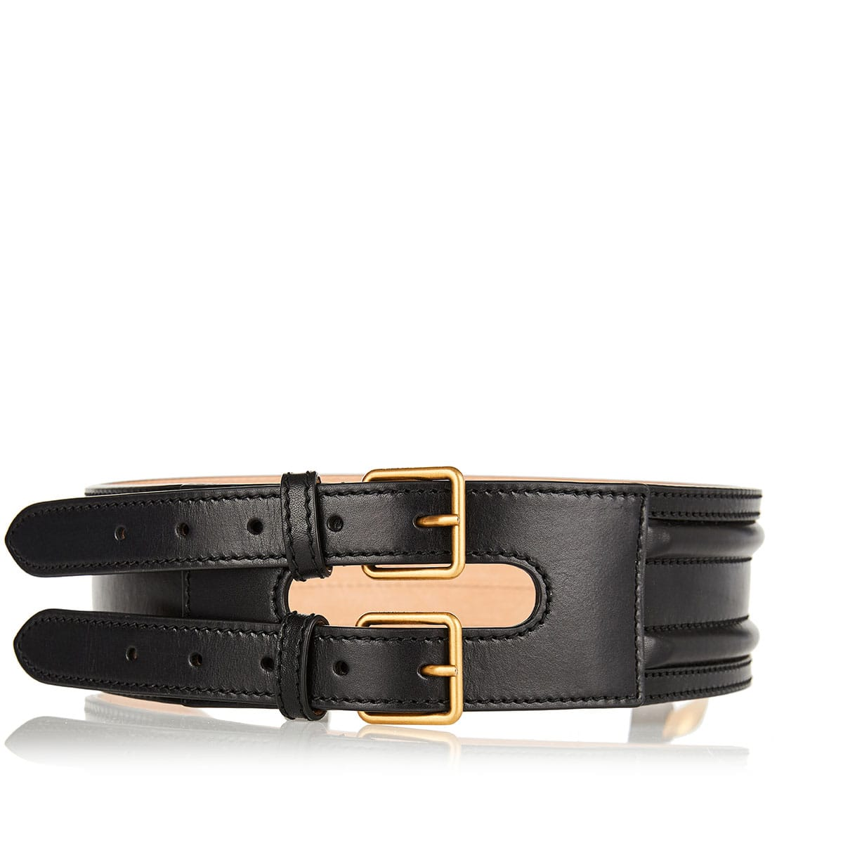 Double-strap wide leather belt