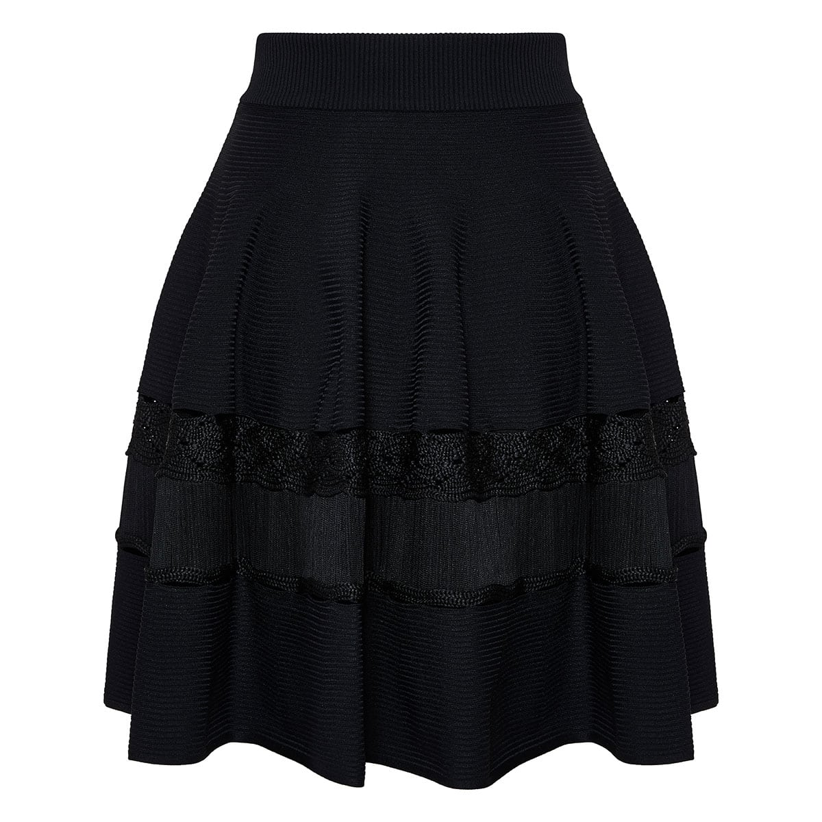 Ribbed-knit flared skirt