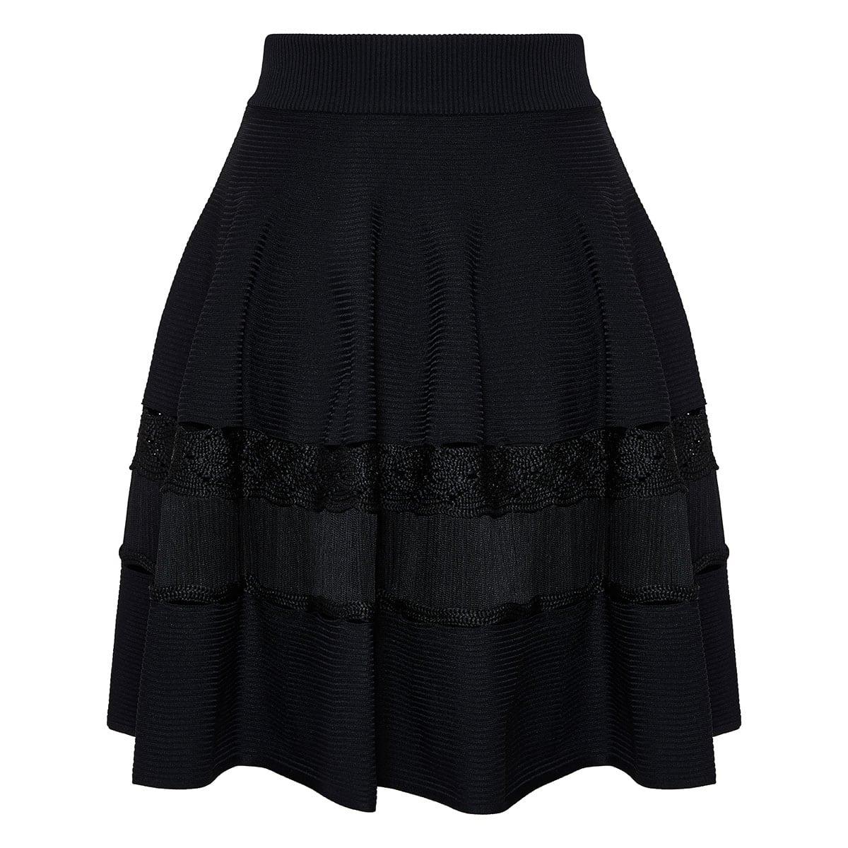 Ribbed-knit flared skirt