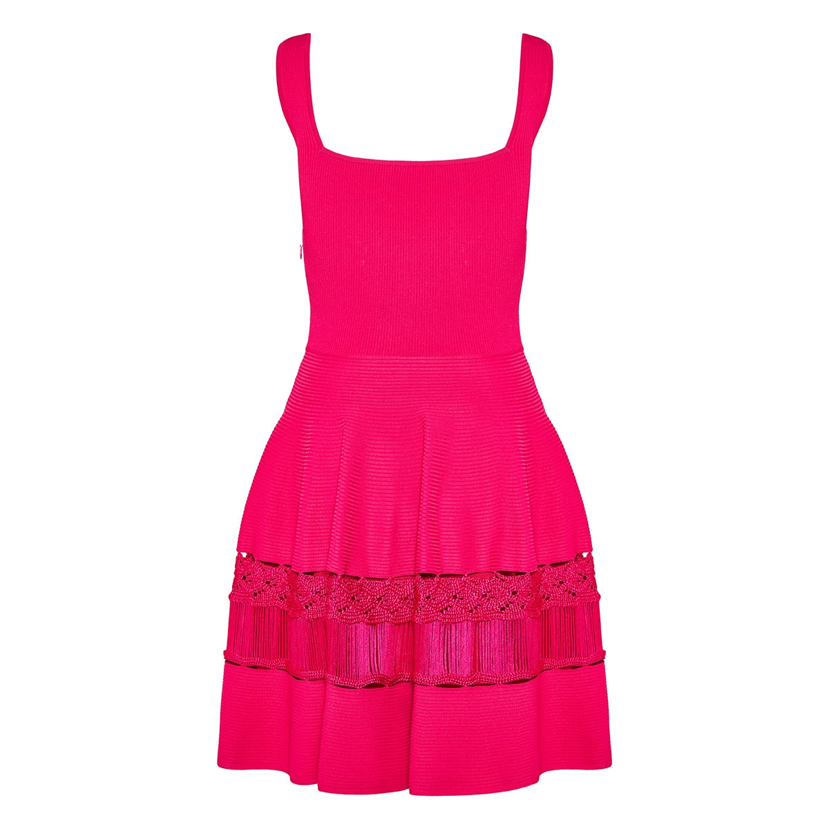 Ribbed-knit flared mini dress