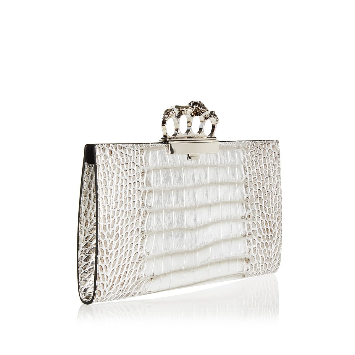 Four ring croc-effect metallic clutch