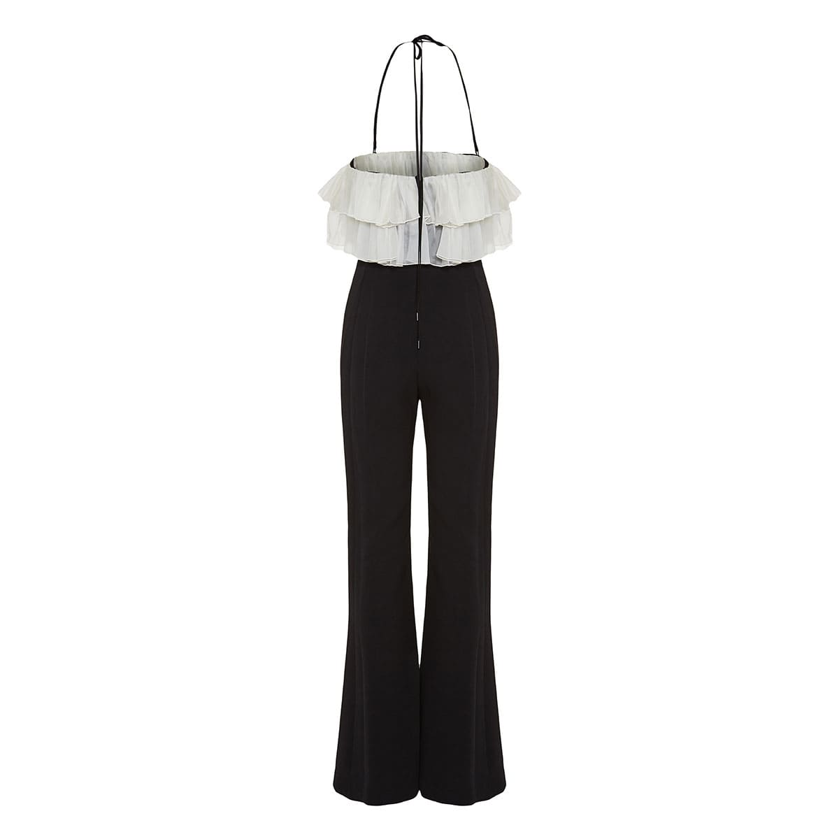 Two-tone ruffled flared jumpsuit