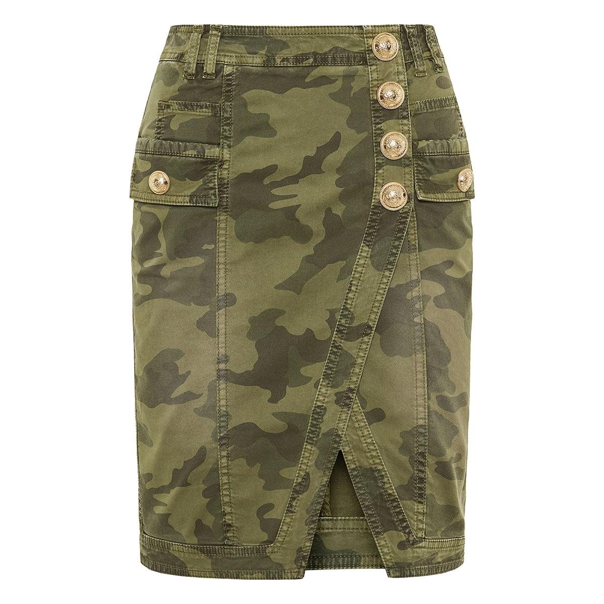 Camouflage wrap-effect denim skirt