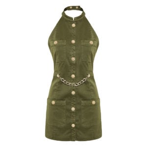 Halter-neck military mini dress