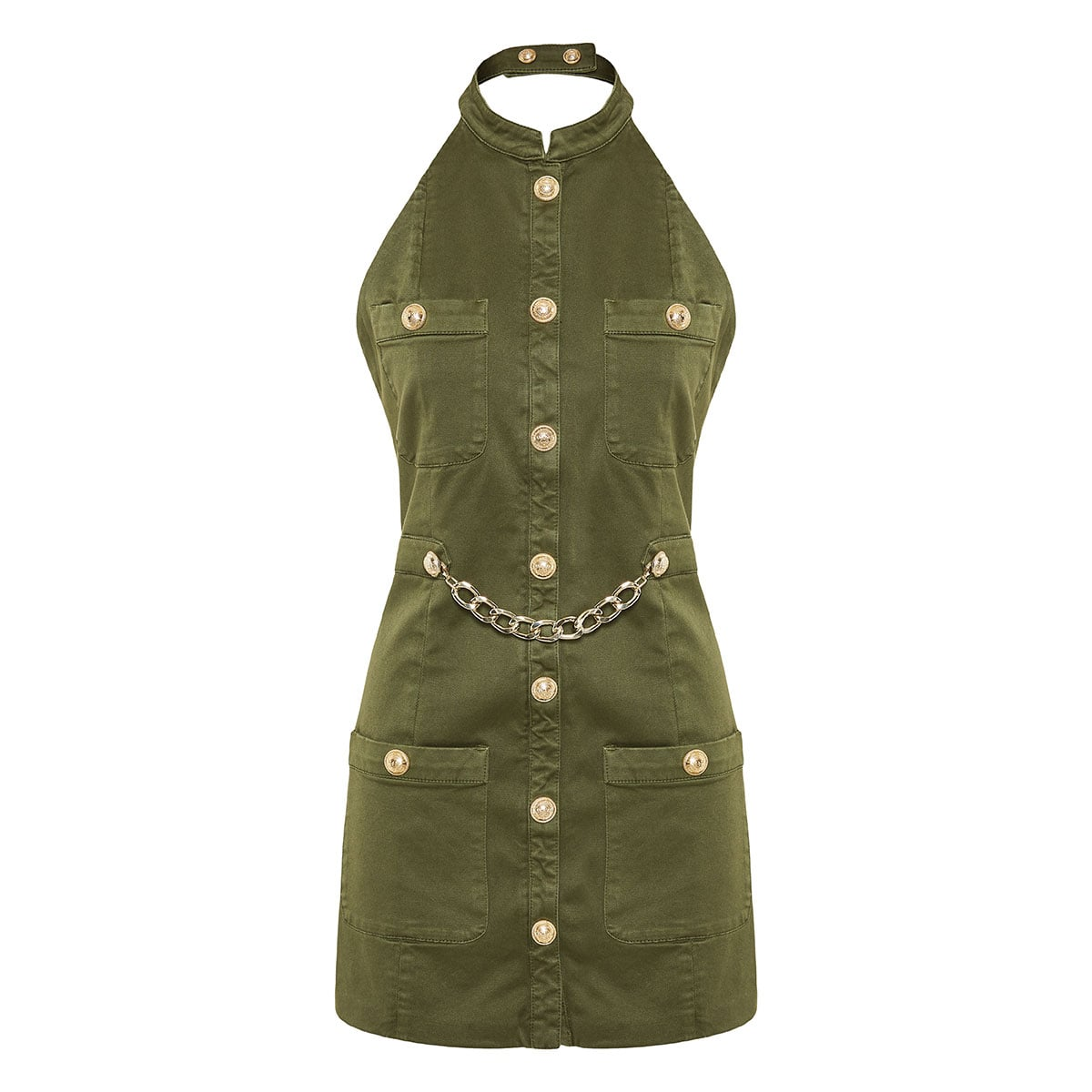 Halter-neck military mini dress