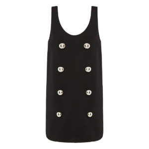 Button-embellished crepe mini dress