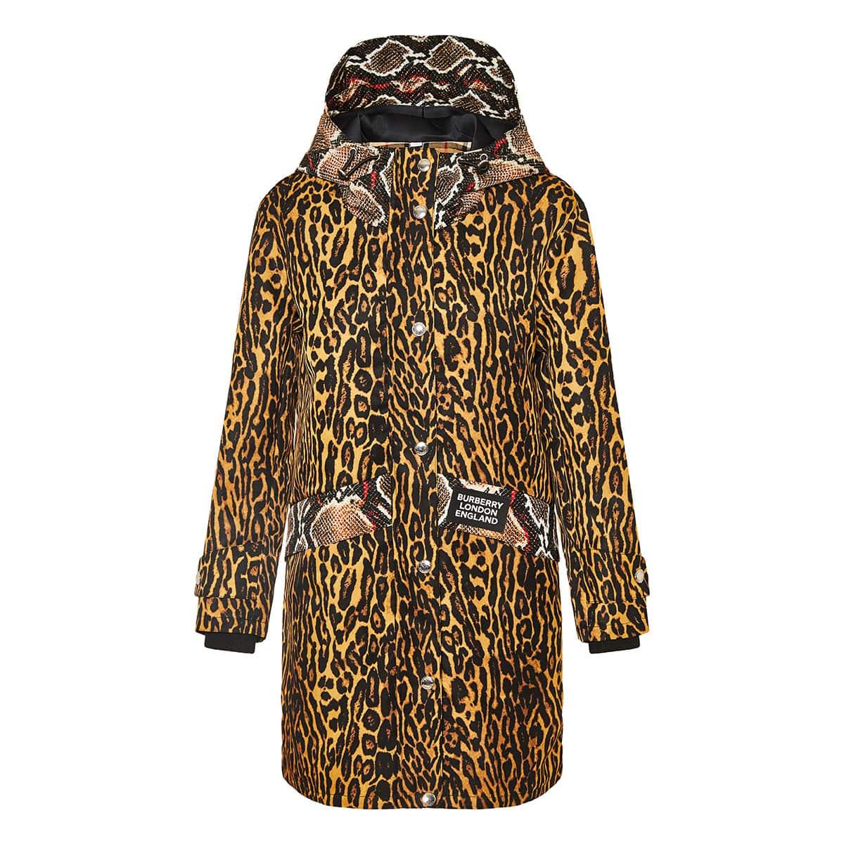 Animal printed parka jacket