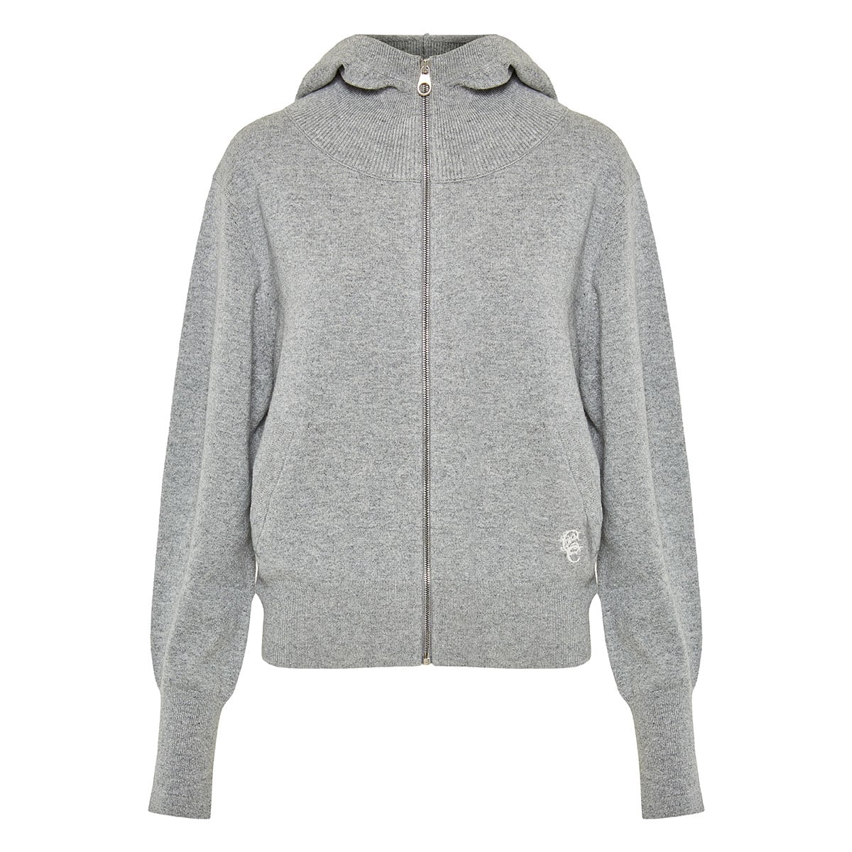 Cashmere-knitted zipper hoodie