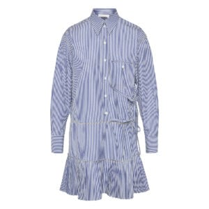 Striped ruffled shirt dress