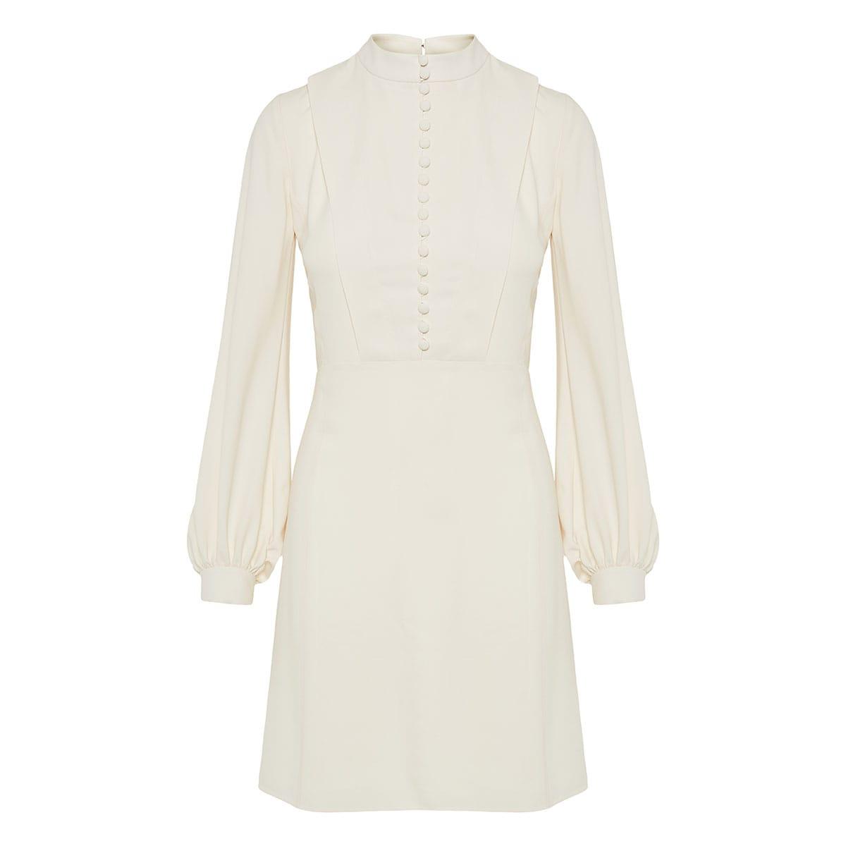 Puff-sleeved crepe mini dress