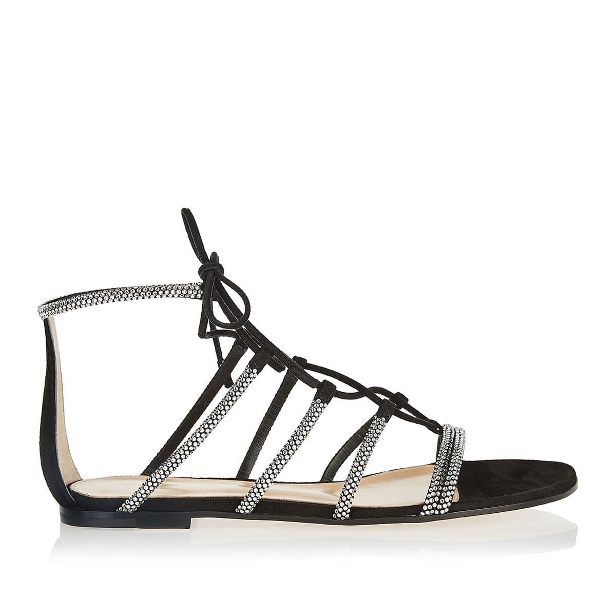 Crystal-embellished suede flat sandals