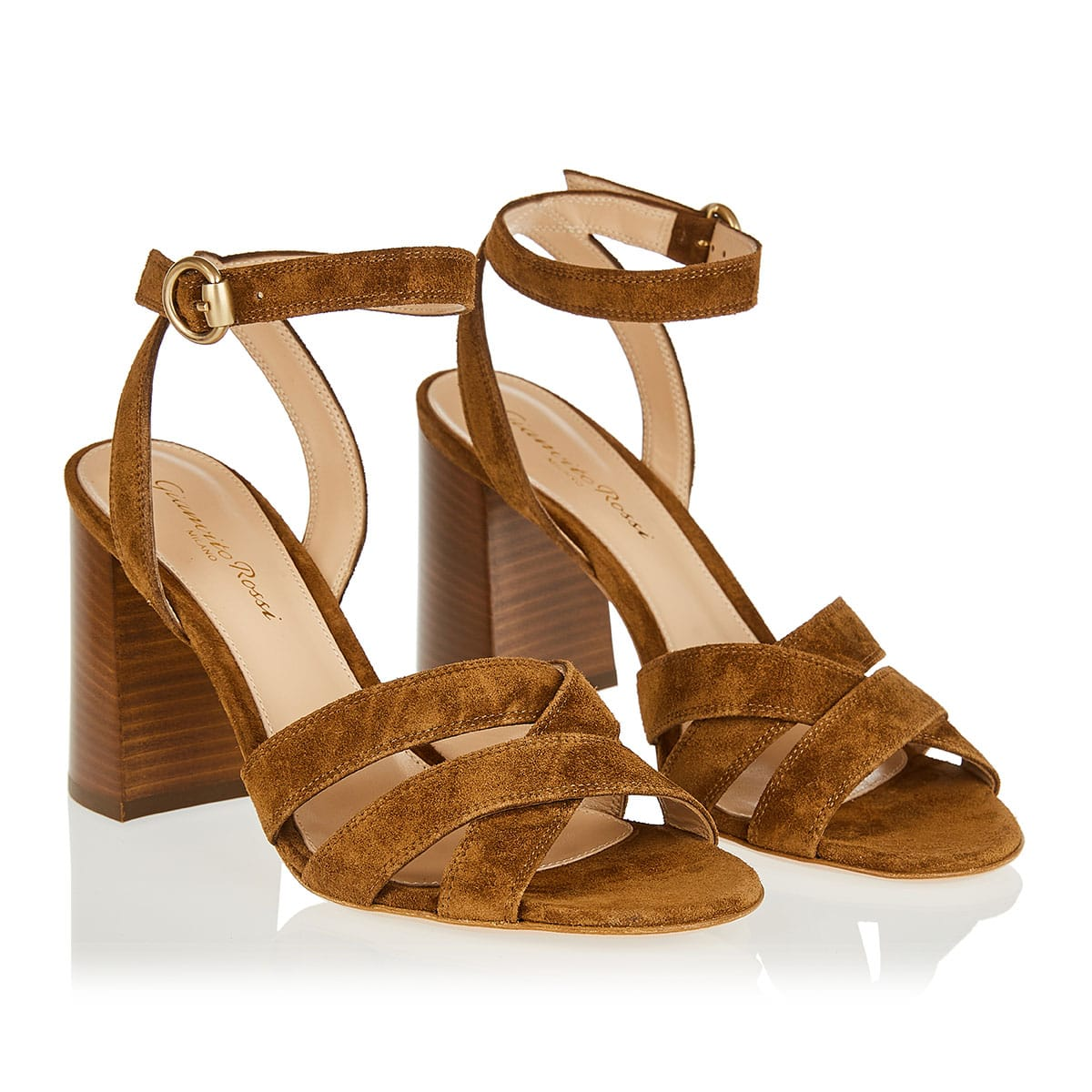Blocked heel suede sandals