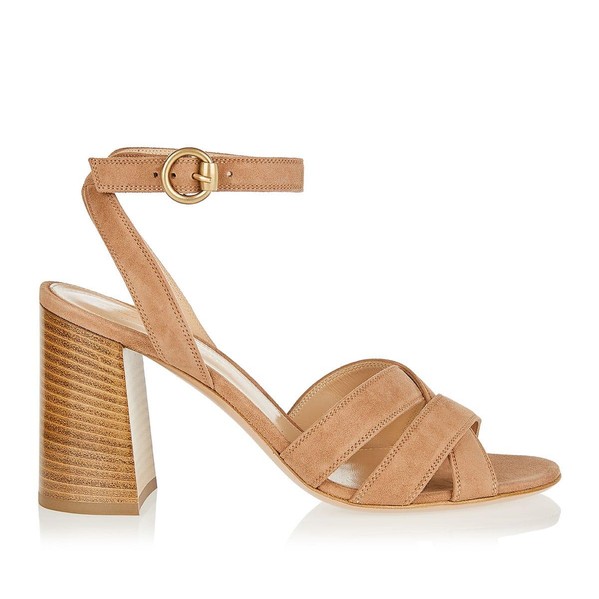 Blocked heel suede sandals