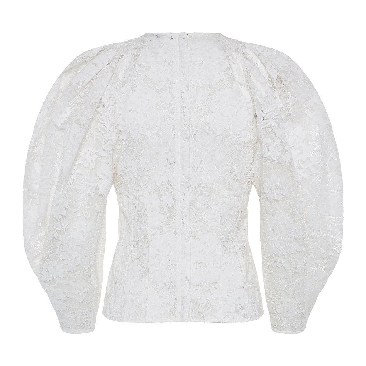Puff-sleeved lace blouse