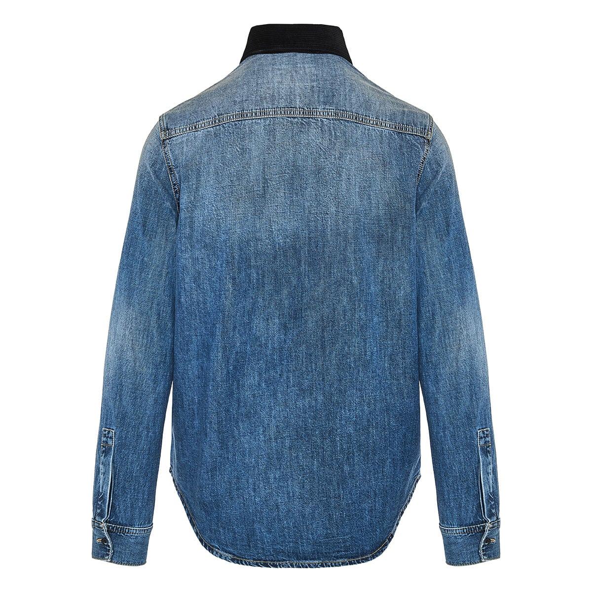 Checked panel denim shirt