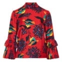 Floral ruffled-cuff blouse