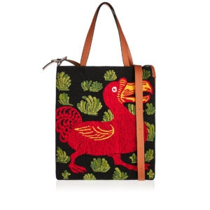 Dodo embroidered leather tote