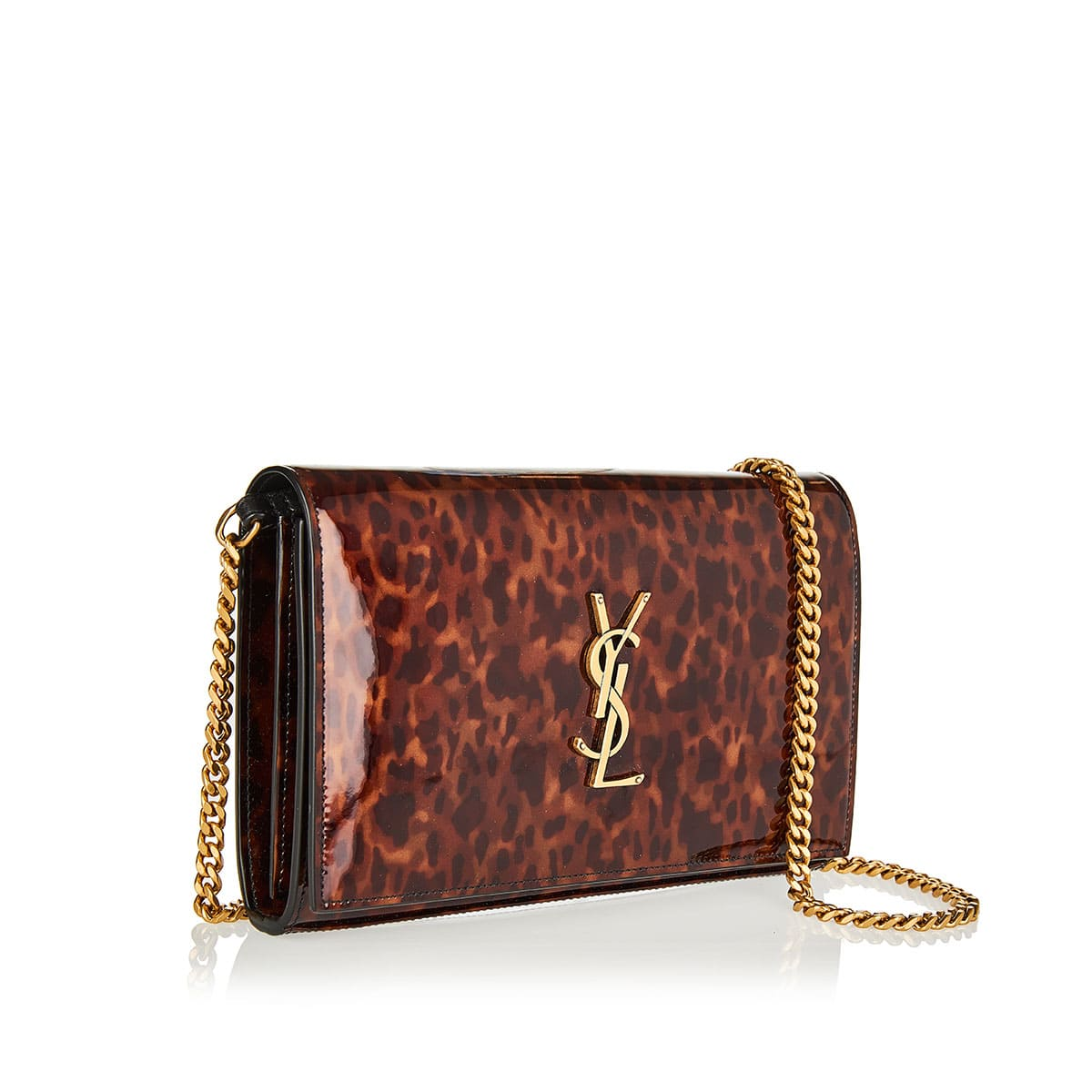 Kate tortoiseshell patent chain bag